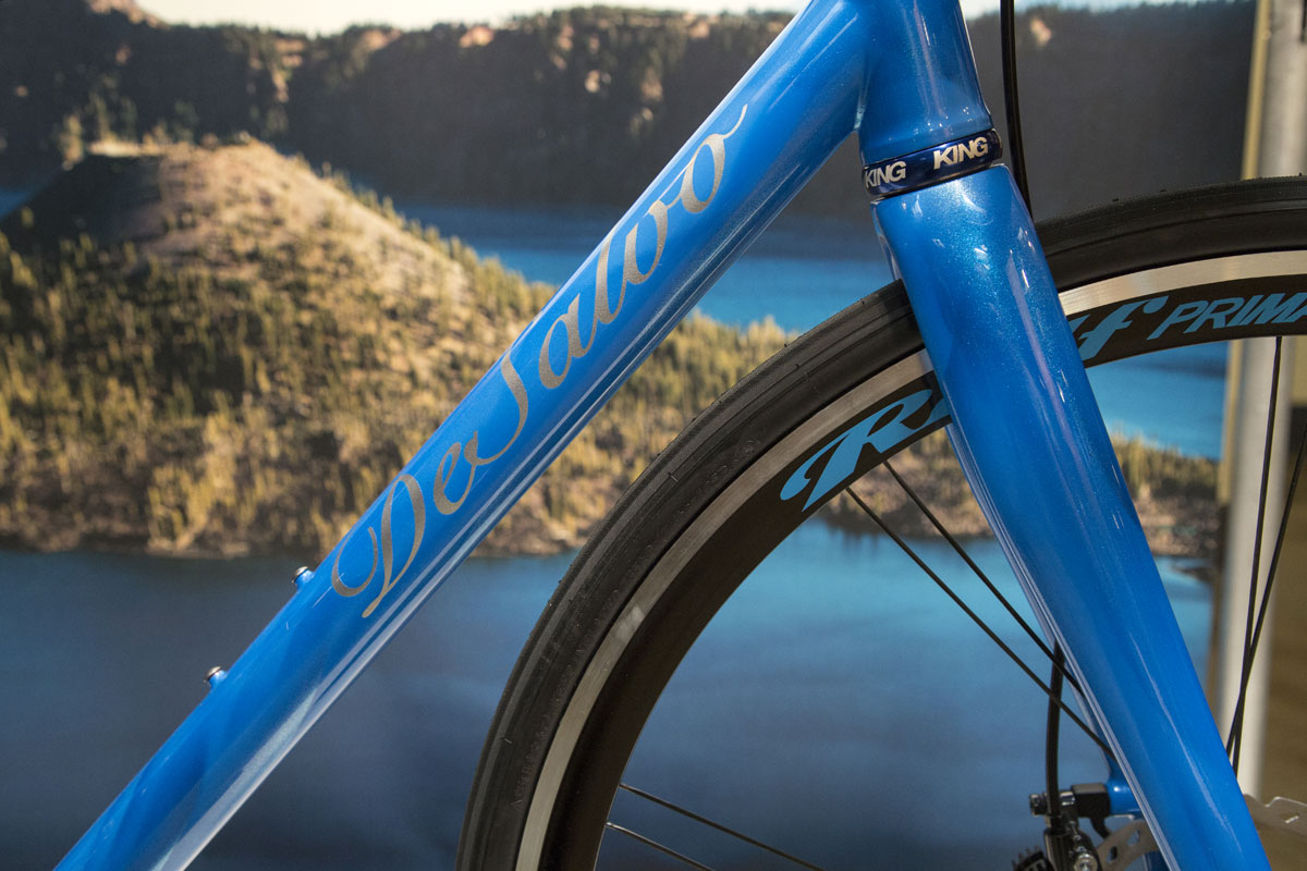 The bike's paint job is a vibrant pearly blue, which was as close as DeSalvo could get to matching the magnificent color of the water that fills this great caldera.