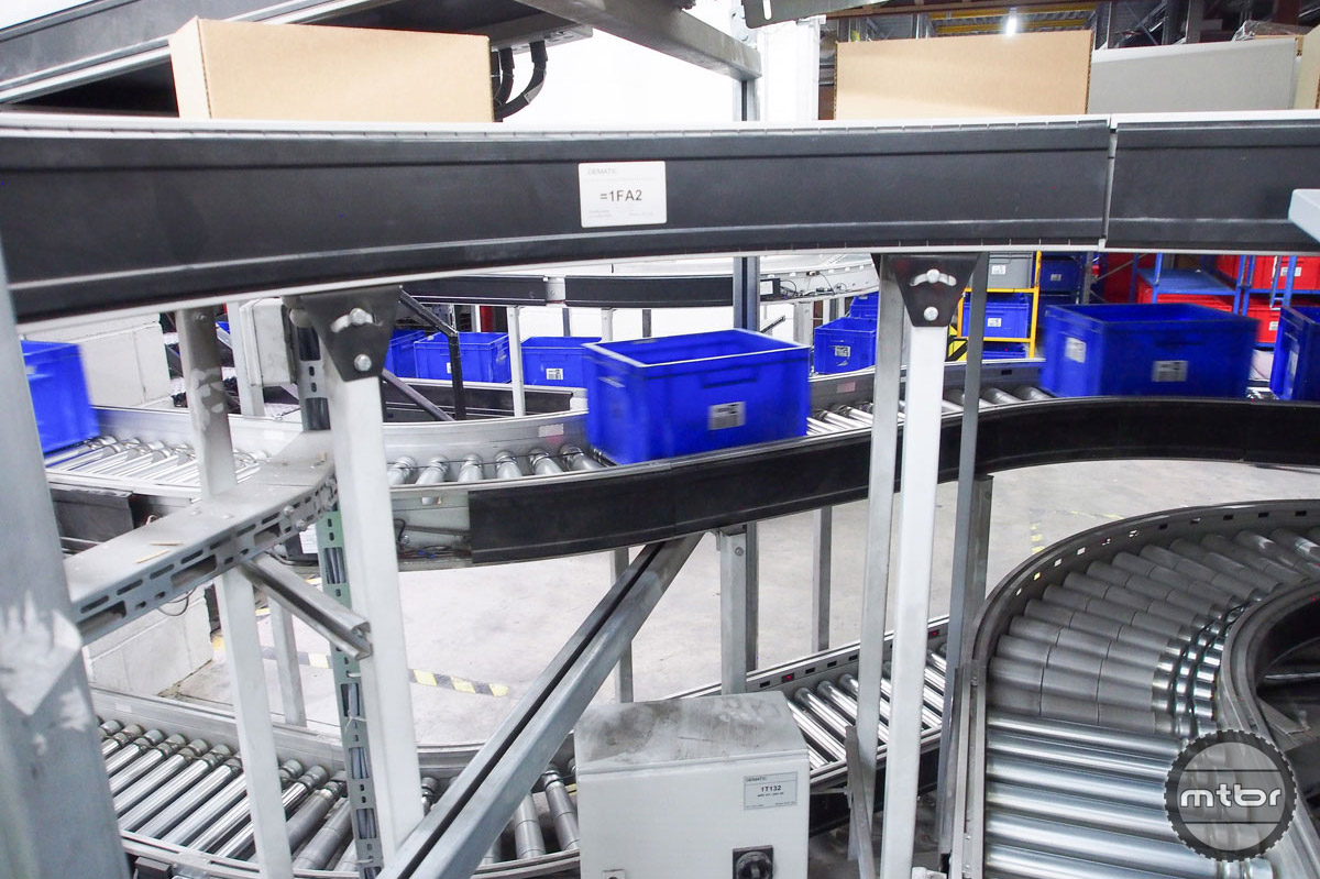 This maze of rollers and conveyors is actually a well-orchestrated shipping machine.