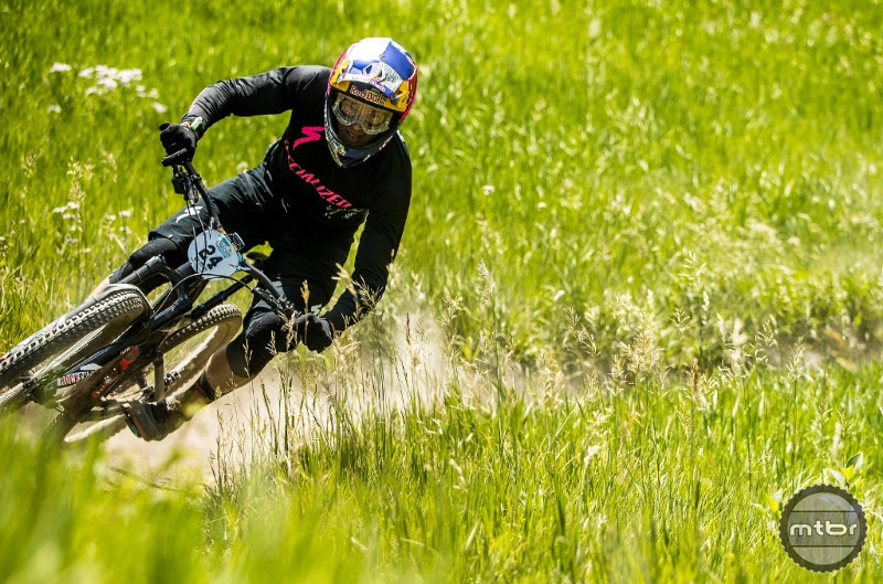 Curtis Keene, Martin Maes, and Iago Garay began racing with the Mallet E LS at the EWS race in Aspen, Colorado. Photo by Sven Martin