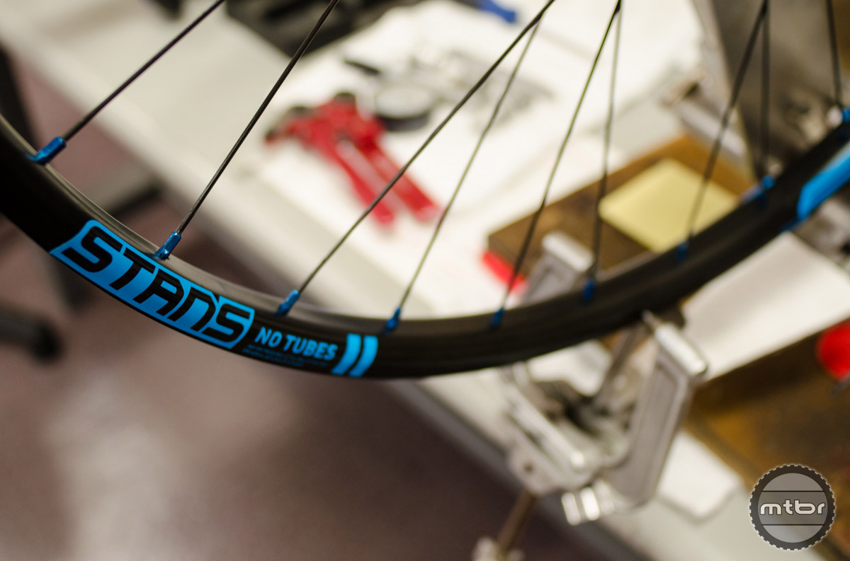 Tired of red, black and white - the traditional colors for Stan's NoTubes wheel decals? This electric blue option will spice up any wheelset. Photo courtesy Stan's NoTubes
