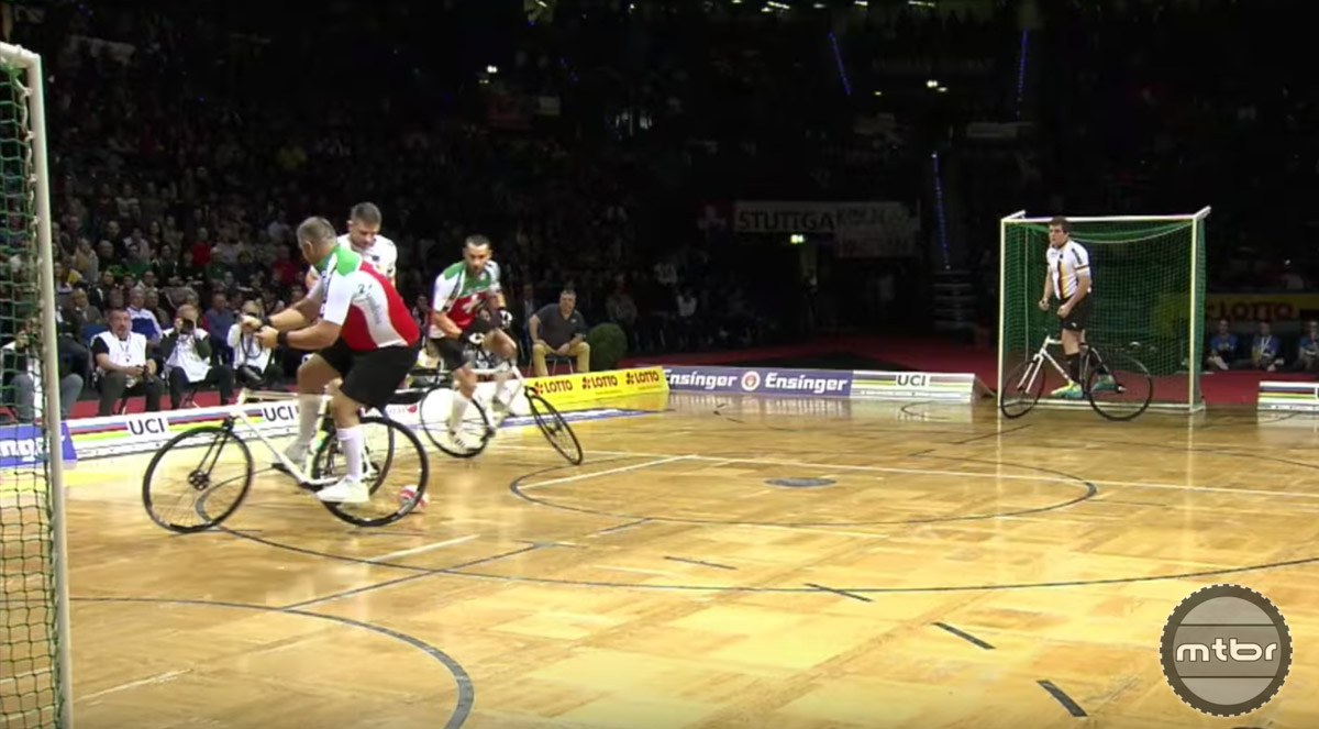 Cycle-Ball appears to be a cross between soccer and quidditch.