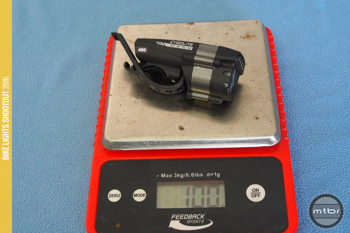 The Cygolite Dash 450 weighs in at 100 grams.
