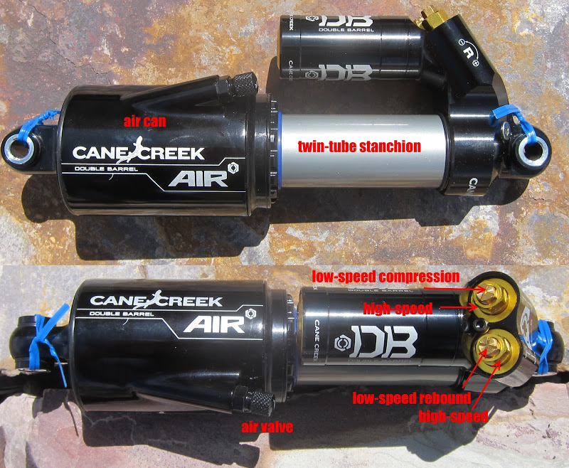 Cane Creek DBair features and layout of the shock