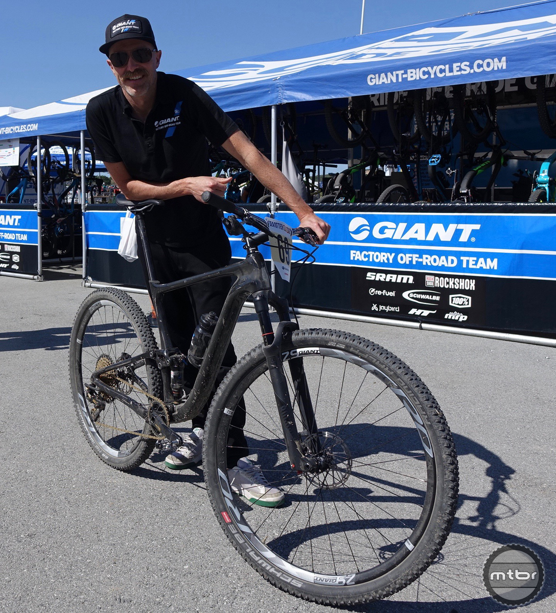 Giant's Anthem prototype has team pro Carl Decker all smiles.