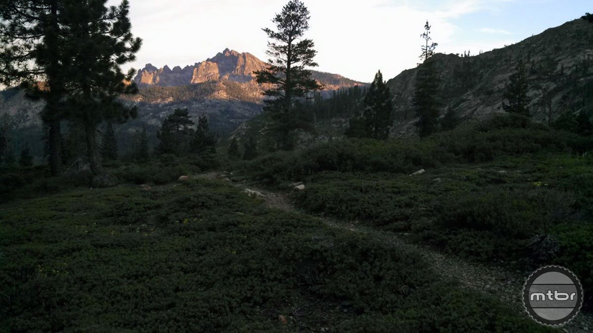 The Sierra Buttes shines in the sunset from Deer Lake Trail.