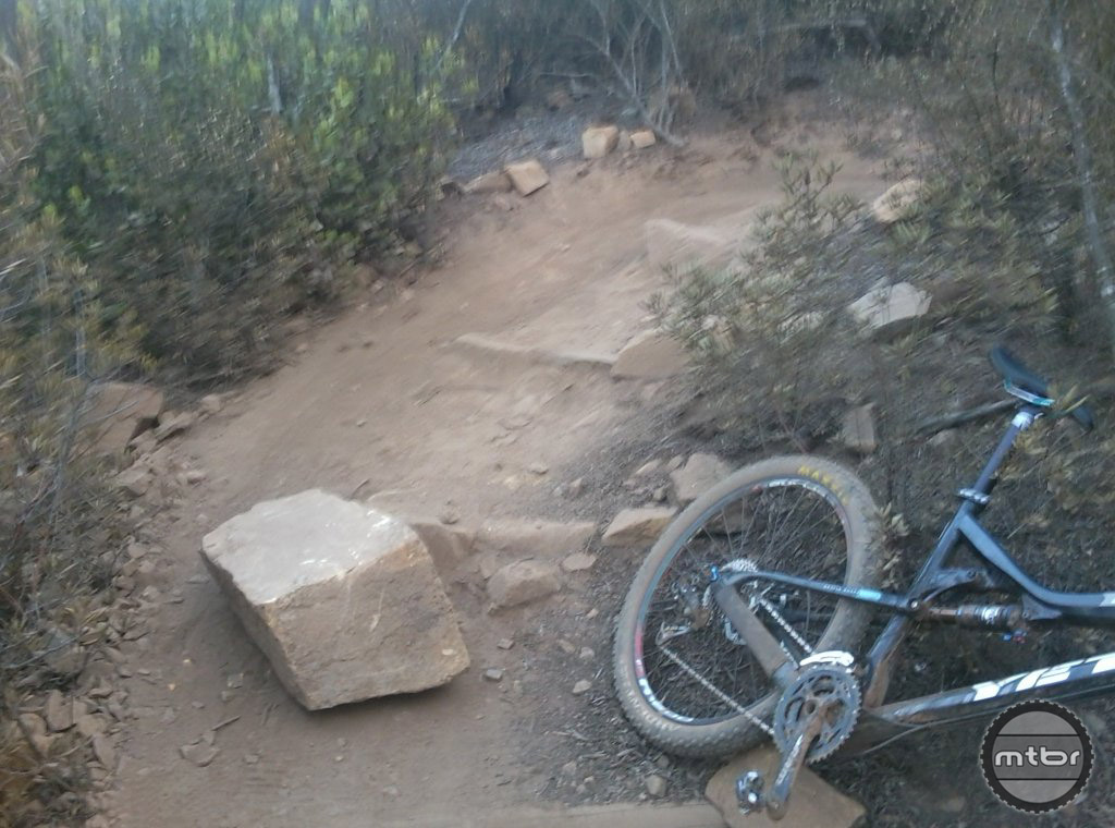 Double Peak trail in Southern California trail sabotaged with a dangerous rock.