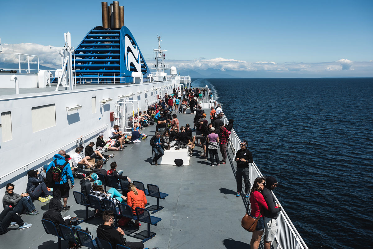 Before stage 1, racers were treated with a ride on BC Ferries. Photo by Dave Silver