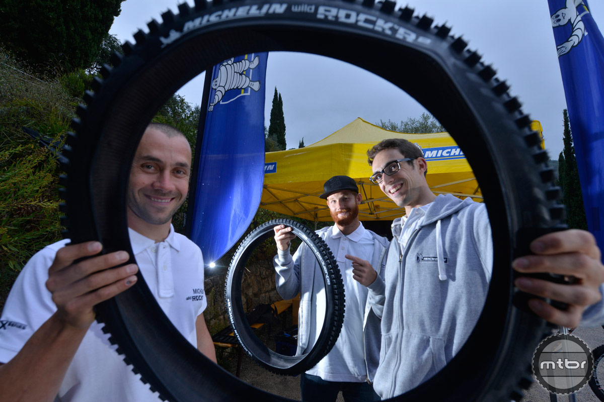 Fabien Barel showing the new Michelin Enduro tire