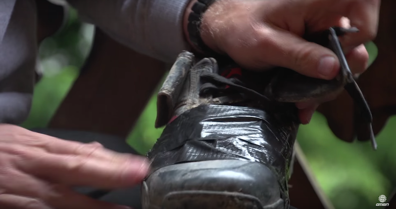 To help waterproof mountain bike shoes, apply a healthy layer of duct tape over the laces.