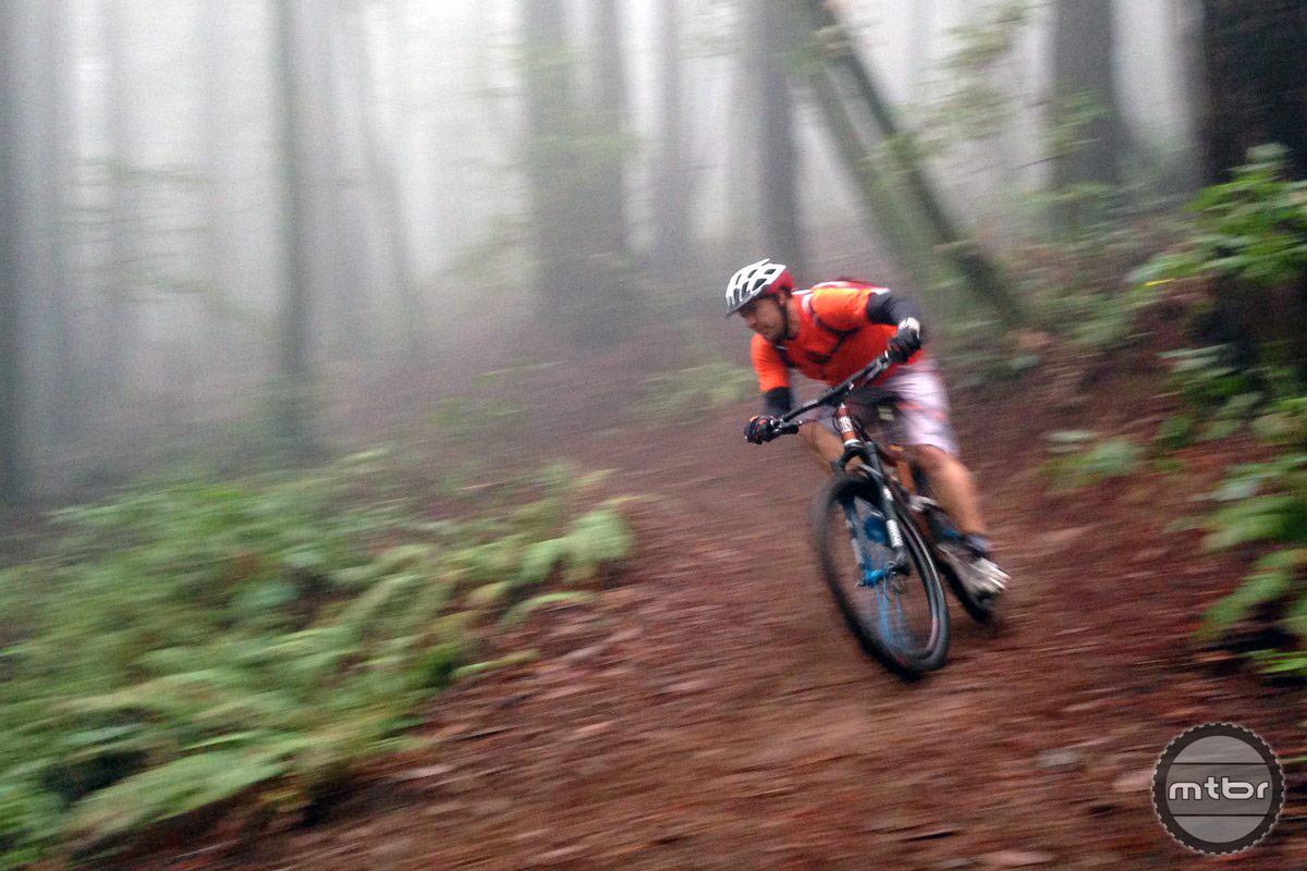 Jeff Estes of Durango bikes is seen here taking a corner in Santa Cruz.