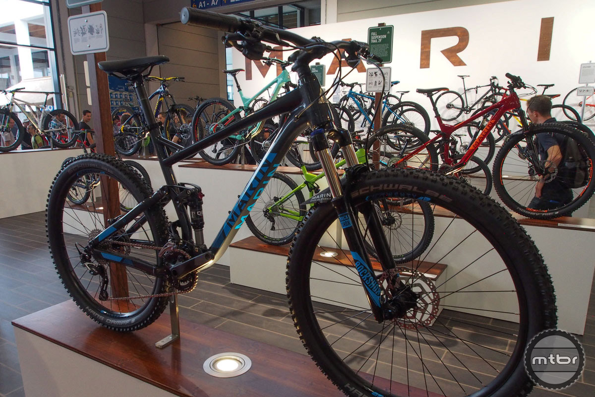 For the rider just getting into mountain biking, Marin offers the new Hawk Hill, a $1500 full suspension rig with 120mm travel and aggressive geometry. U.S. builds will be 1x only.