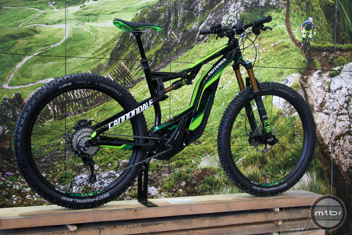 """E-bikes are like opinions, everybody has one. That group now includes Cannondale, which has launched the Moterra, which comes in two builds. Pictured is a 130mm travel option with 27.5 plus tires. There's also a more burly 160mm version with 2.35"""" rubber. Propulsion is driven by a Bosch Performance CX 250-watt drive unit, and the design utilizes a torsion box that allows the battery to be positioned in the center and low to the ground. A skid plate protects the motor."""