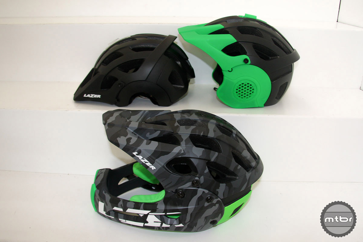 Lazer gets into the removable chinbar helmet game with the new Revolution FF helmet. As you can see in the photo, this brain protector can take three forms. The green ear covers easily snap into place, but the chin bar uses three small screws. Thus Lazer sees this more as a one helmet solution (trail one day, bike park next), rather than a helmet riders will convert mid ride.