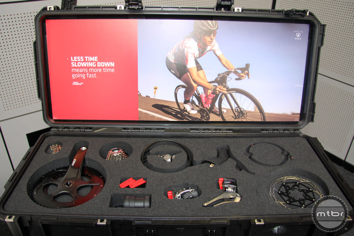 Following the roll out of a rim brake version of its eTap wireless shifting drivetrain earlier this year, SRAM unveiled a disc-brake equipped group here at Eurobike. It cant be long before we see this technology employed on the mountain bike side of the equation as well.