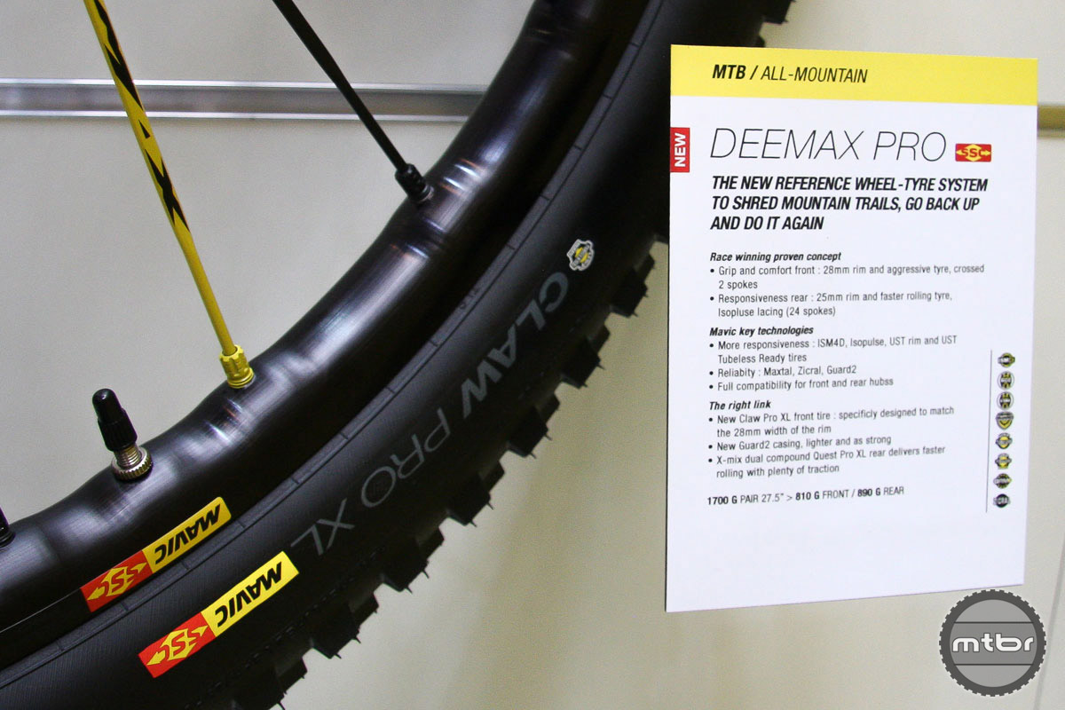 Mavic's MTB wheel line covers all the bases from lightweight XC to all-mountain and DH. The new Deemax Pro are ready for plenty of hard hitting action.