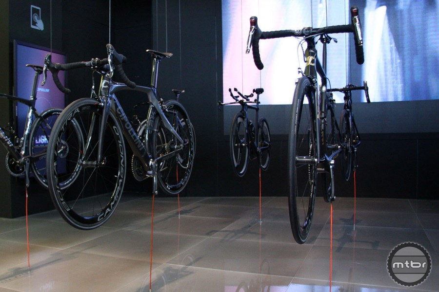 Floating bikes in the Cipollini booth. Now that's trick.