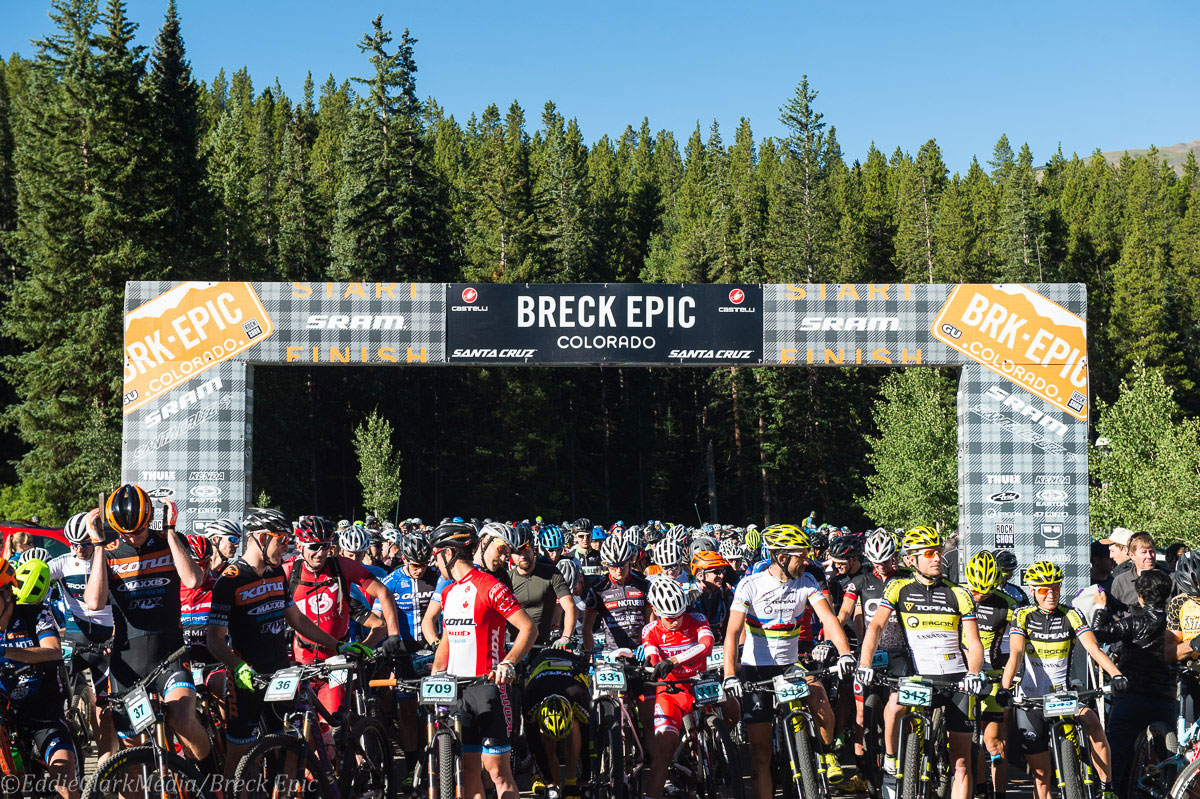 Racers line up for Stage 1: Pennsylvania Gulch of the 2015 Breck Epic. Photo courtesy Breck Epic/Eddie Clark