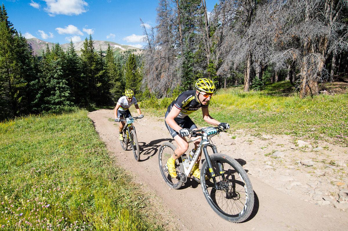Jeremiah Bishop and Alban Lakata on hot pursuit for their Topeak-Ergon teammate Kristian Hynek. Photo courtesy Breck Epic/Eddie Clark