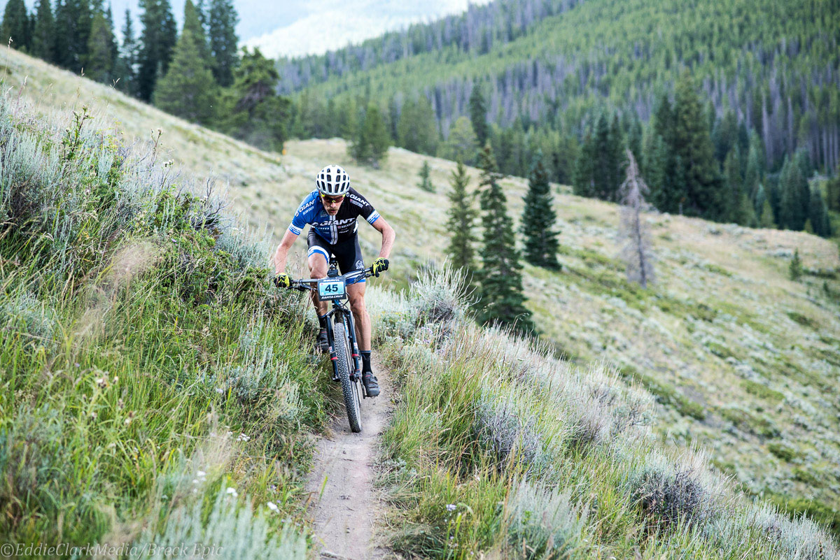 Giant pro Carl Decker ticking them over en route to a top-5 stage two finish. Photo courtesy Breck Epic/Eddie Clark