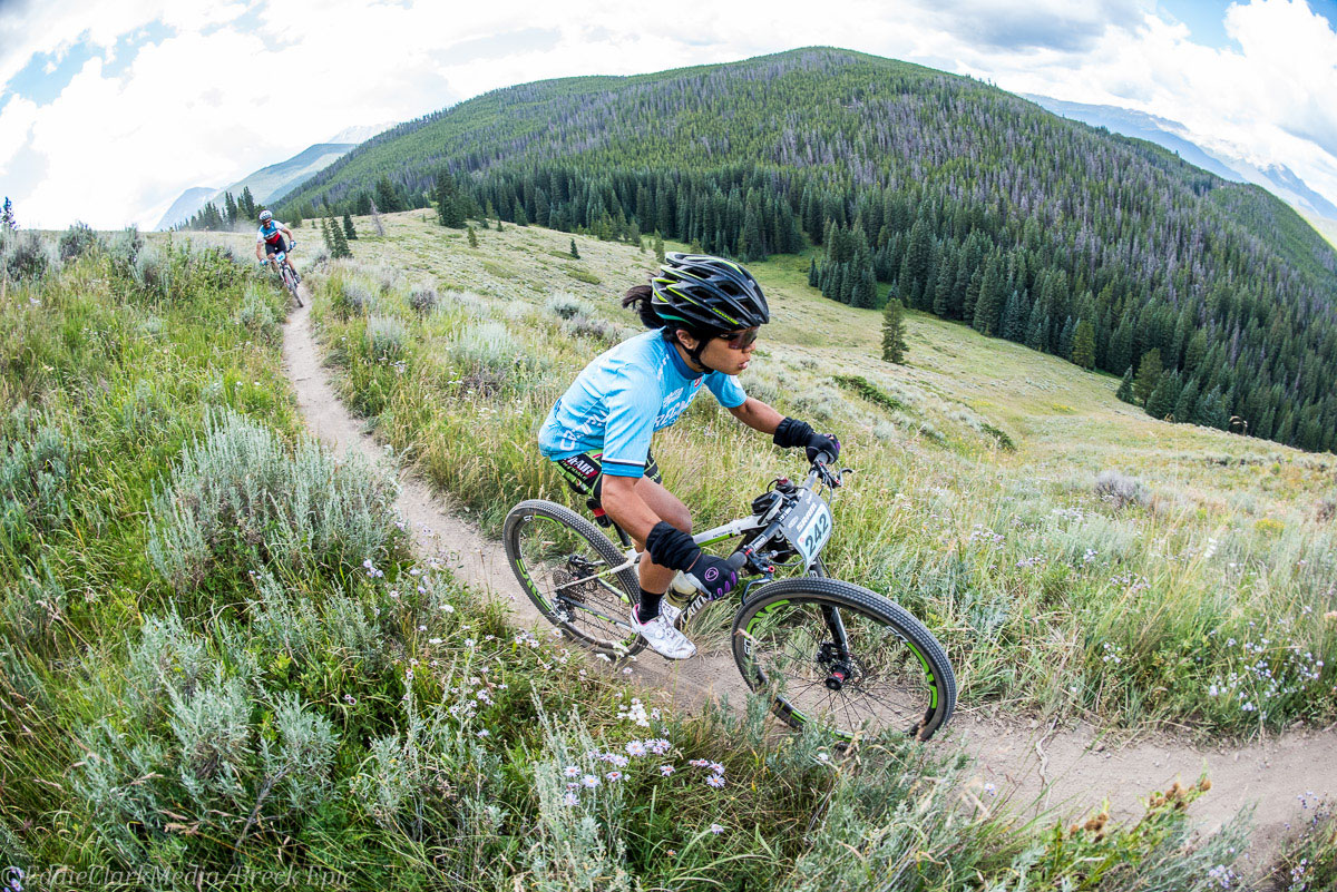 Team Sho-Air's Evelyn Dong headed to a 4th place finish on the Colorado Trail stage. Dong leads Giant's Serena Gordon by 7 minutes in the overall. Photo courtesy Breck Epic/Eddie Clark