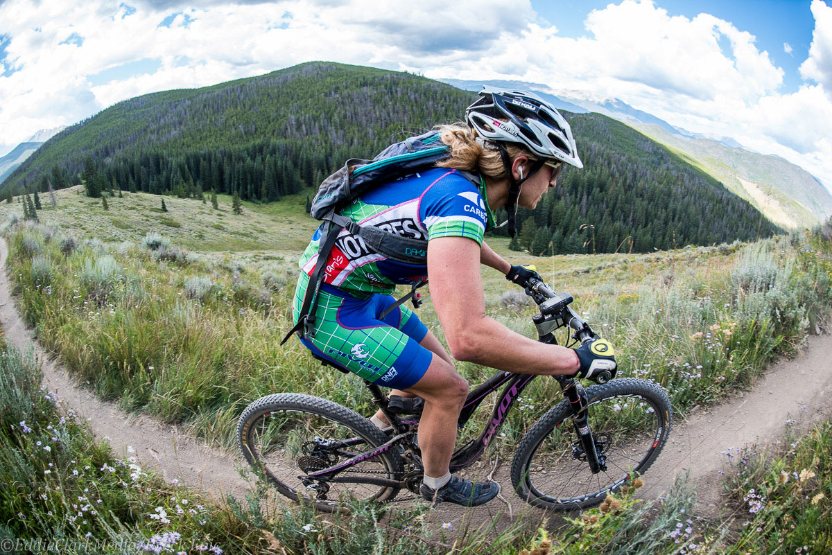 mtbracenews rider Marlee Dixon en route to a stage two victory in the solo open women category. Photo courtesy Breck Epic/Eddie Clark