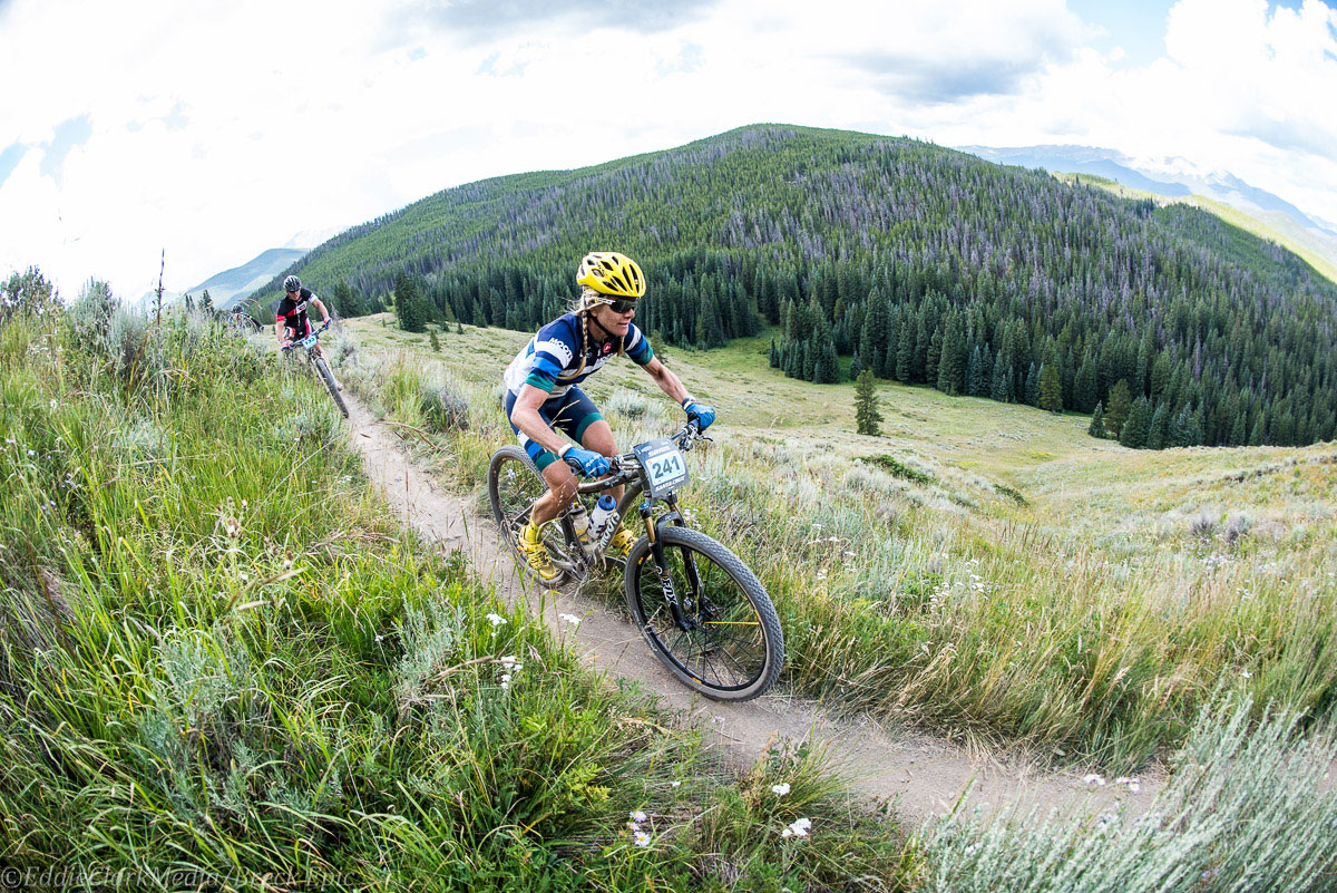 Moots rider Kelly Boniface motoring to a 4th place finish. Photo courtesy Breck Epic/Eddie Clark
