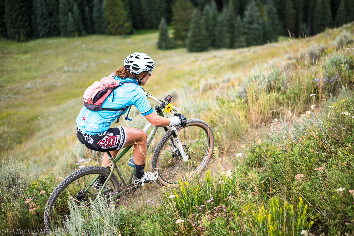Singlespeed GC leader Sarah Sheets on the Colorado Trail. Photo courtesy Breck Epic/Eddie Clark