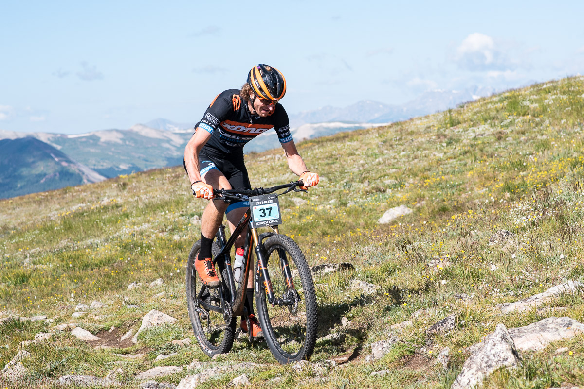 Stage 5 provided big climbs and even bigger descents. Barry Wicks takes the stage win on a hard tail – always smiling. Photo courtesy Breck Epic/Eddie Clark