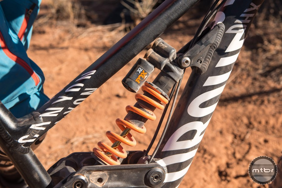 A 2016 FOX DH X2 coil-over shock handled the rear suspension on Berrecloth's Rampage proven Canyon DHX. Photo by Eddie Clark/EddieClarkMedia.com