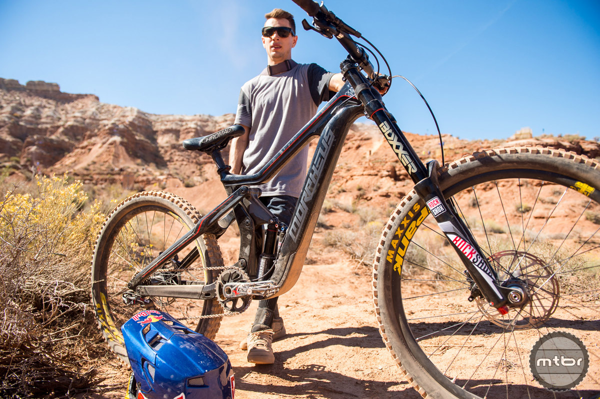 """Anthony Messere is looking to improve his Rampage run on his new 2016 Carbon Morpheus featuring 8 inches of RockShox suspended front and rear travel that rolls on 27.5"""" Spank wheels. Photo by Eddie Clark/EddieClarkMedia.com"""
