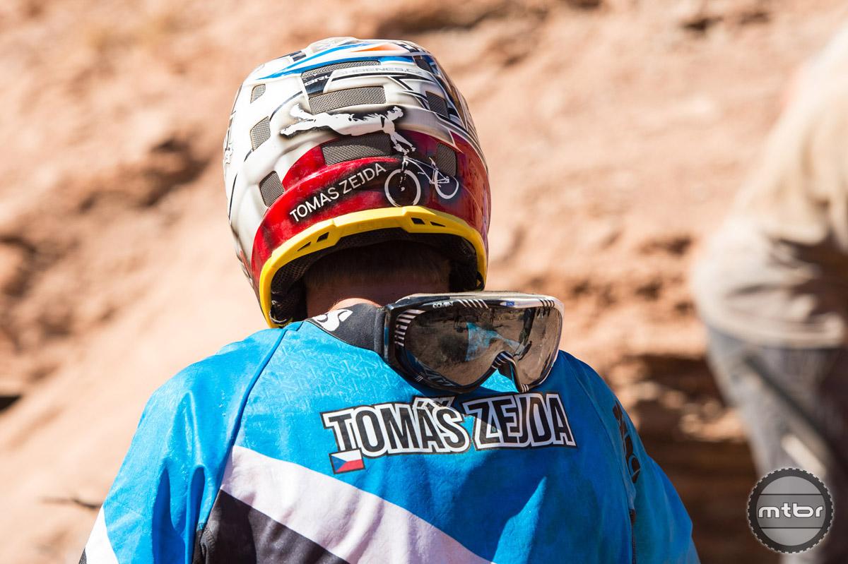 Tomas Zejda with his custom air-brushed helmet. Photo by Eddie Clark/EddieClarkMedia.com