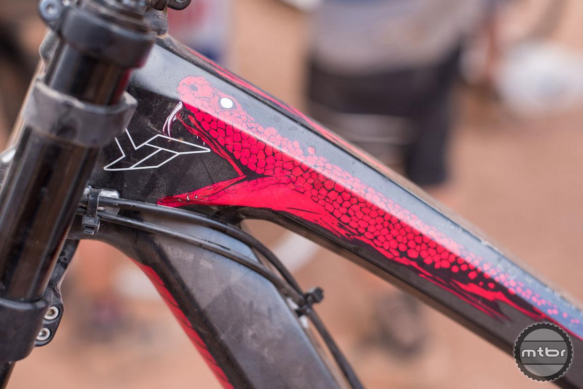 Second place finisher Andreu Lacondeguy's red python themed bike. Photo by Eddie Clark/EddieClarkMedia.com