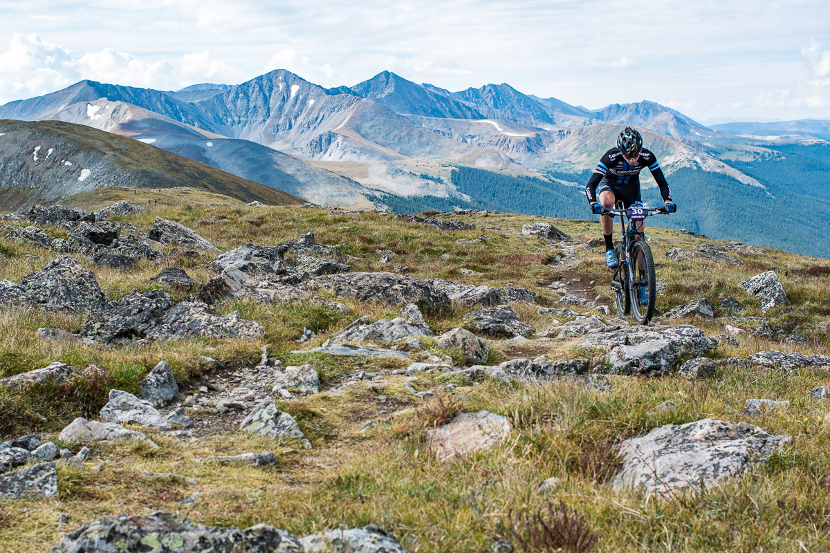 Clayton Otto maneuvers the goat trail at 12,000ft before the screaming descent back down into town. Photo by Eddie Clark