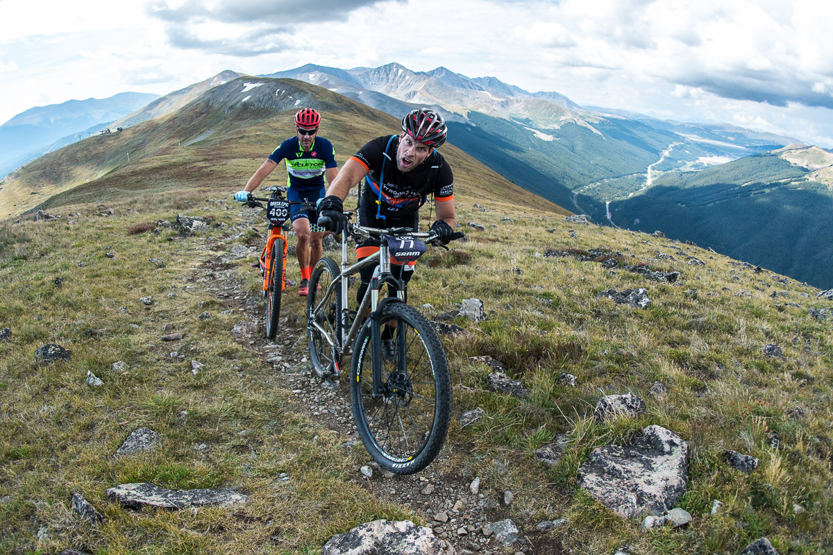 Pushing along the ridgeline at 12,000ft has a certain affect on rider's brain capacity. Photo by Eddie Clark