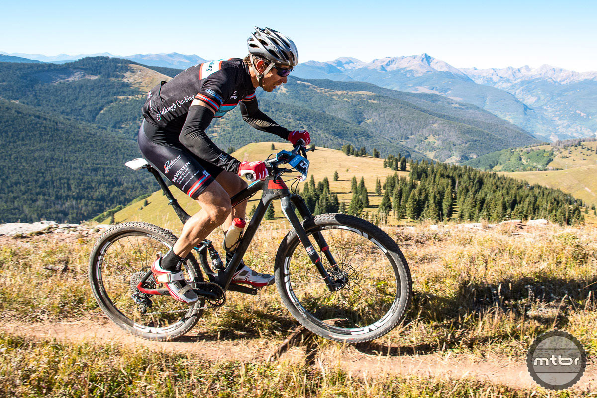Exterra World Champion Josiah Middaugh won the men's XC race aboard his mostly stock Felt Edict FRD that was sporting ENVE M50 wheels with Specialized Fast Track tires.  Unfortunately, Middaugh's parental duties took precedence over a more thorough bike review. Photo by Eddie Clark