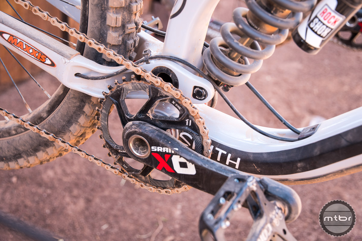 Surprisingly, Semenuk does not run a chain guide on his SRAM XO 1x11 drivetrain.  Front ring is a 36 tooth. Photo by Eddie Clark/EddieClarkMedia.com