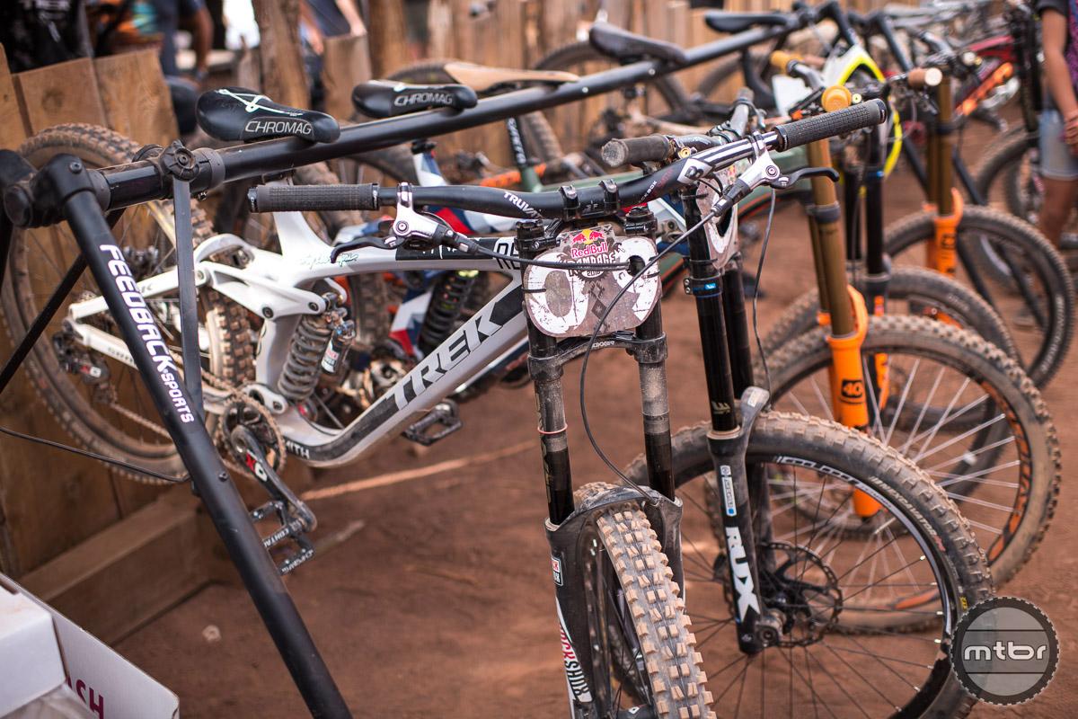 "Semenuk's full carbon 26"" Trek with SRAM drivetrain, Avid brakes, and RockShox suspension. Photo by Eddie Clark/EddieClarkMedia.com"