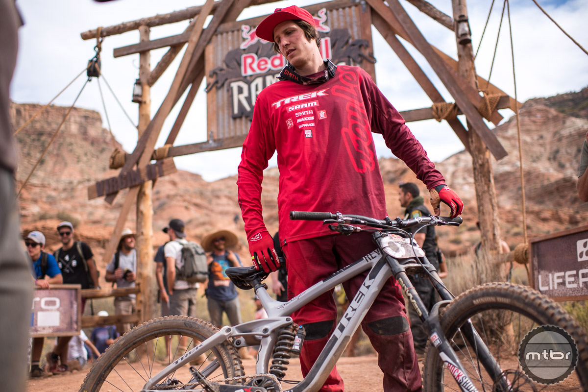 "Two-time Red Bull Rampage champion, Brandon Semenuk and his 26"" Trek. Photo by Eddie Clark/EddieClarkMedia.com"