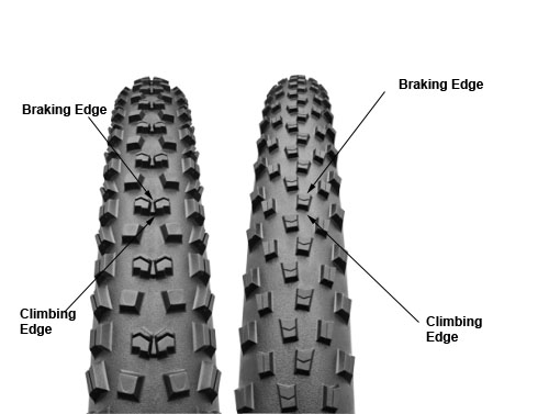 Continental tread pattern - Mountain King II left; X-King right