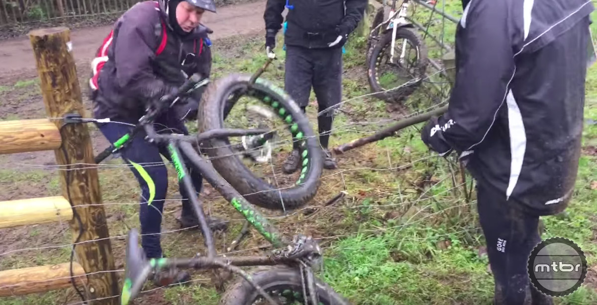 Fat Bike caught on an Electric Fence