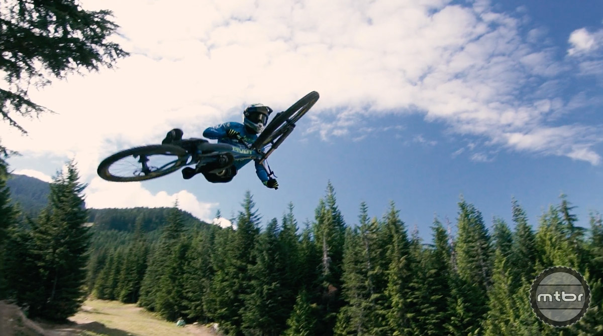 Perhaps the best part of this video is the contrast between average riders tackling some of Whistler's biggest jump trails and the lines that Eliot is tackling.