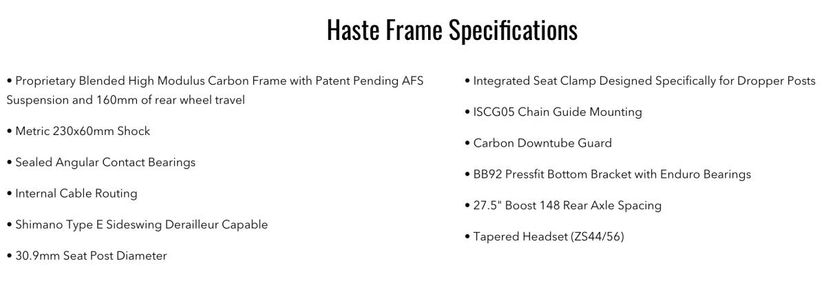 Eminent Haste Frame Specs