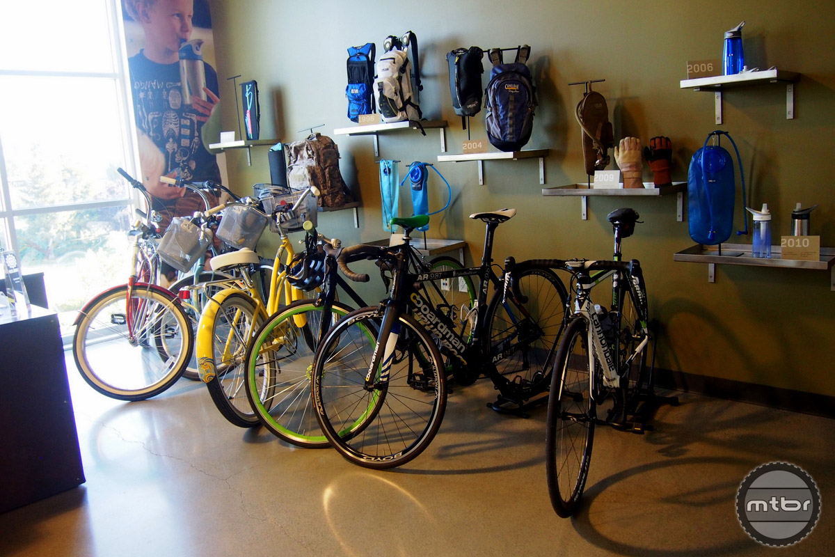 An assortment of employee-owned bikes can be found in the lobby.