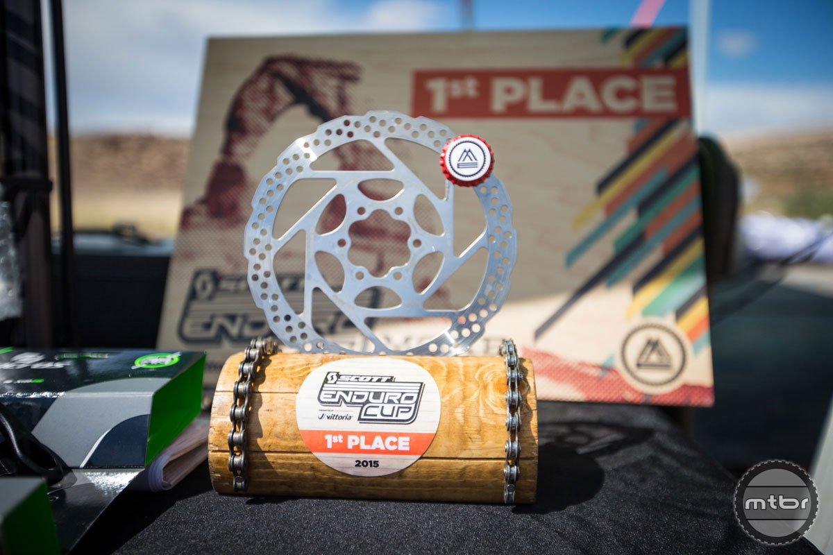 Very appropriate trophies. Photo courtesy of Scott Enduro Cup