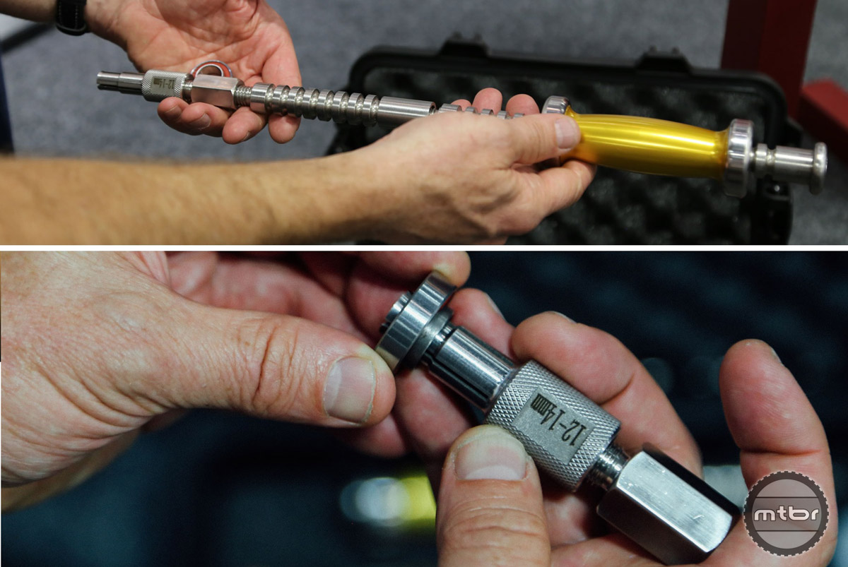 The shaft of the slide handle is grooved to help reduce weight.