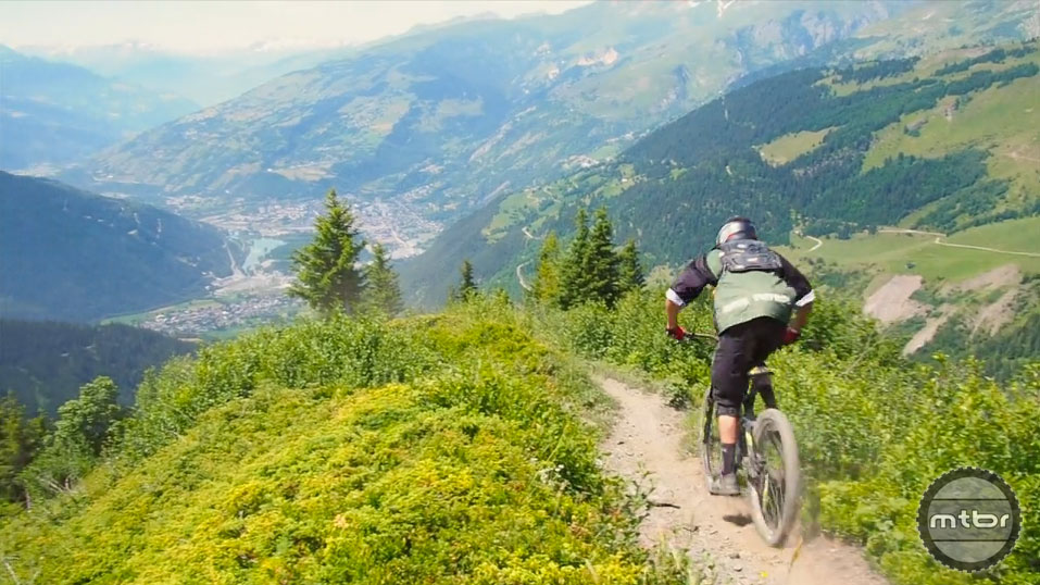 The event included trails in the superb Les Arcs Bikepark, as well as branching out into tough, relentlessly steep natural paths and tracks in the area.