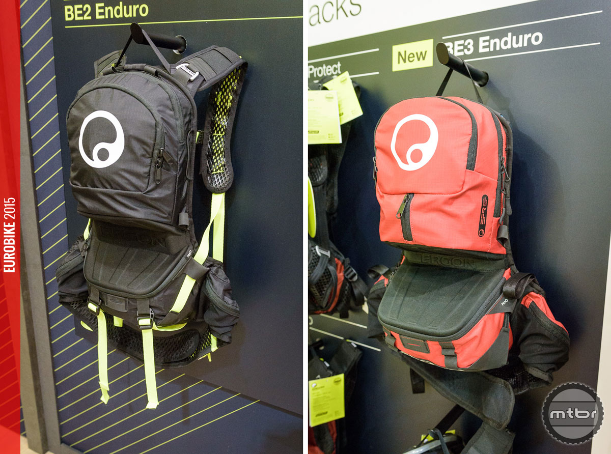 Limited edition Laser Lemon on the BE2 enduro backpack (left). The BE3 enduro backpack (right) has a larger volume but the same features as the BE2.