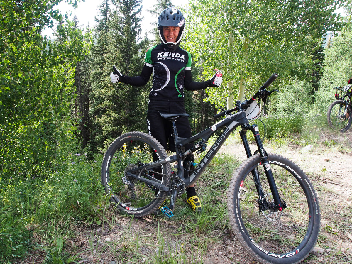 Former U.S. Olympian Mary McConneloug still primarily focuses on XC racing, but she can also hold her own on a trail bike. She finished 36th in the pro class in Colorado. McConneloug and Broderick spend most of their time in Europe, where they have an RV that they live in. Her enduro race bike is a full carbon 27.5 Intense Tracer.