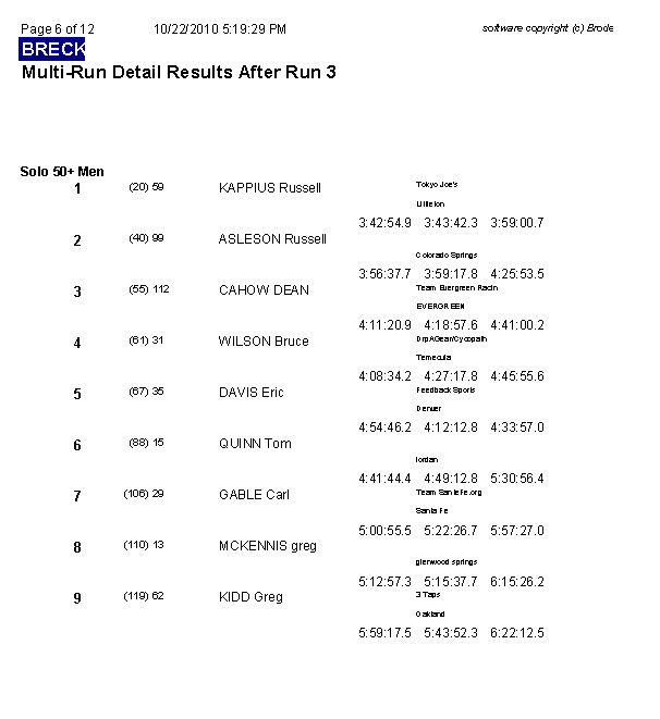 Multi-Run Results after Run 3 page 6