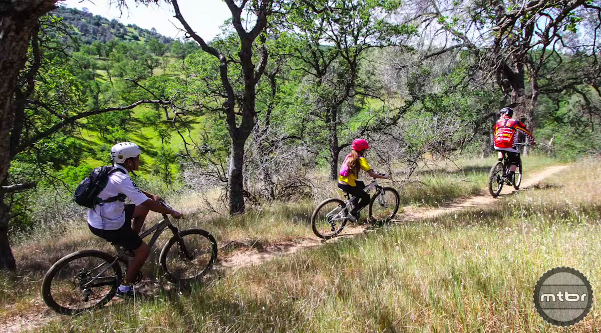 Riding the trails of the Exchequer Mountain Bike Park in Mariposa, CA.